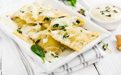 Spinach and Cheese Ravioli in Garlic and Sage Butter Sauce