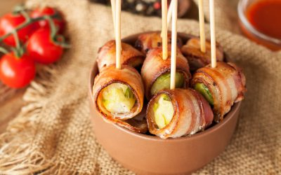 Bacon Wrapped Brussels Sprouts with Balsamic Mayo Dip