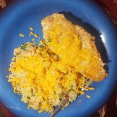 cheesy chicken and cauliflower rice medly