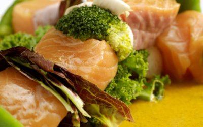 Salmon & Vegetable Skewers with Peanut Sauce