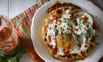 cheddar sausage corn meal waffles