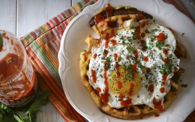 Cheddar Sausage Cornmeal Waffles