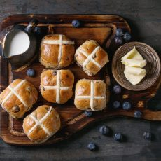 blueberry lemon hot cross buns