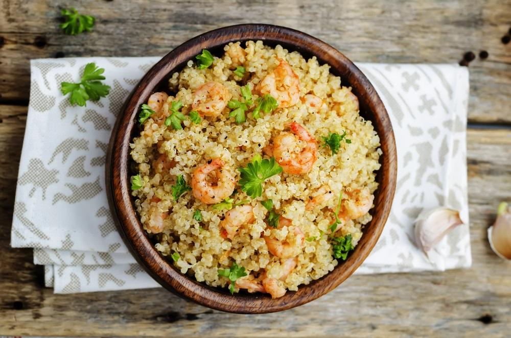 spicy garlic shrimp and quinoa