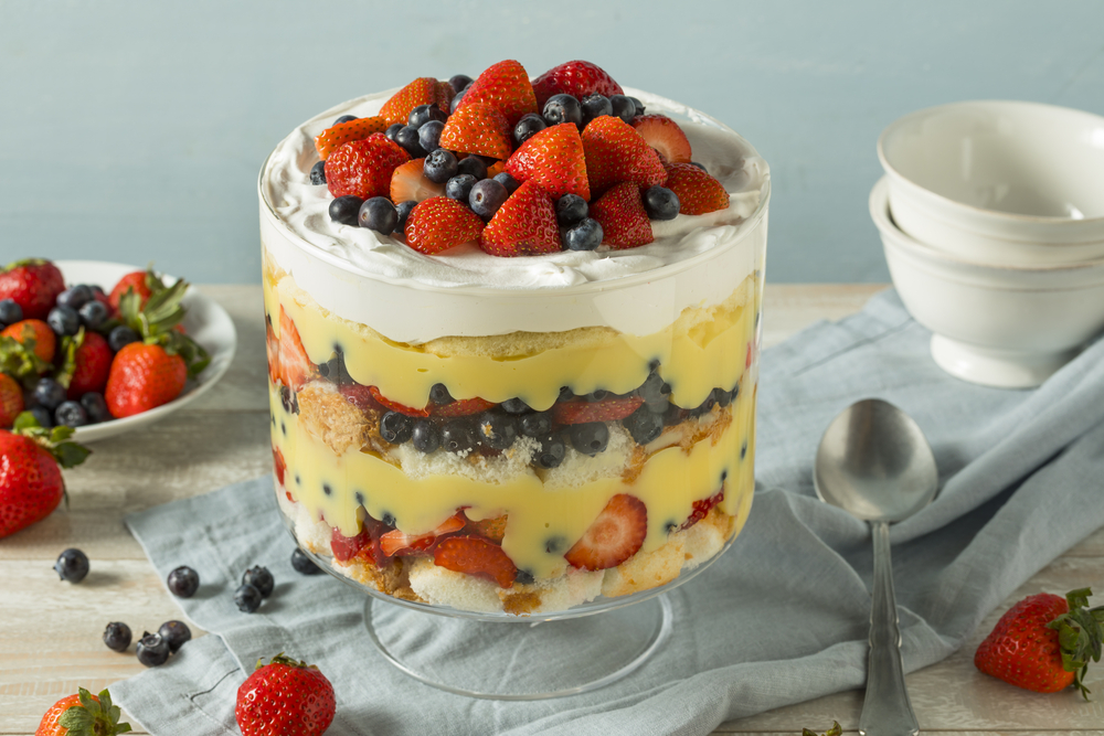 Sweet Strawberry Trifle with Pudding and Cake