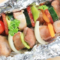 pork and vegetable foil packet