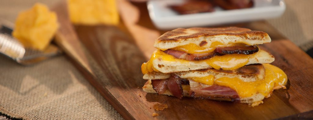 naan grilled cheese with bacon
