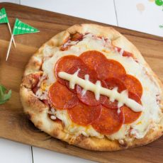 mini naan football pizza