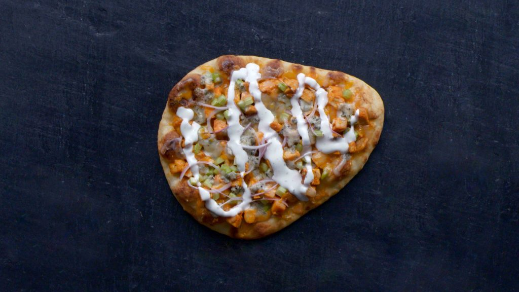 buffalo chicken naan pizza