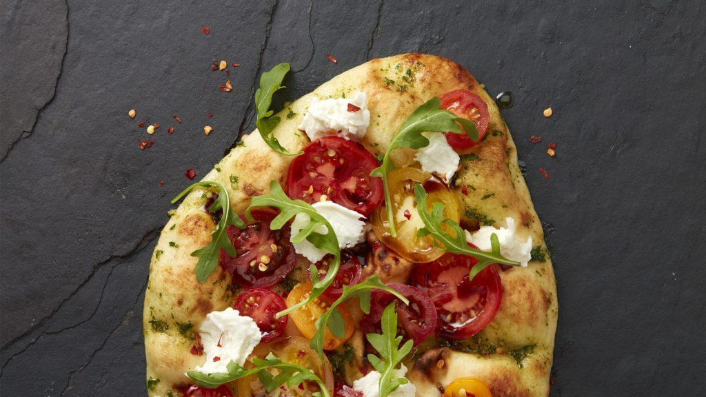 naan caprese pizza