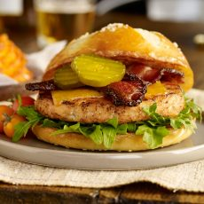 Salmon Burger with Peppered Bacon