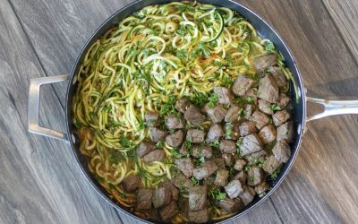 Garlic Butter Steak Bites with Zoodles