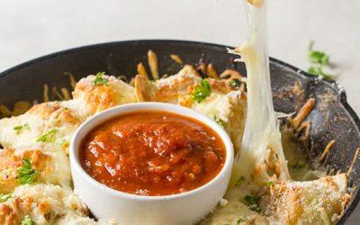 Cheesy Garlic Pull Apart Pierogies