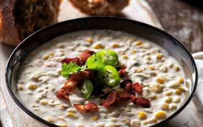 Roasted Corn & Jalapeno Cauliflower Chowder