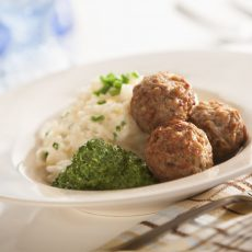 Italian - Style Meatball Risotto with Basil Pesto