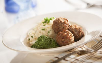 Italian – Style Meatball Risotto with Basil Pesto