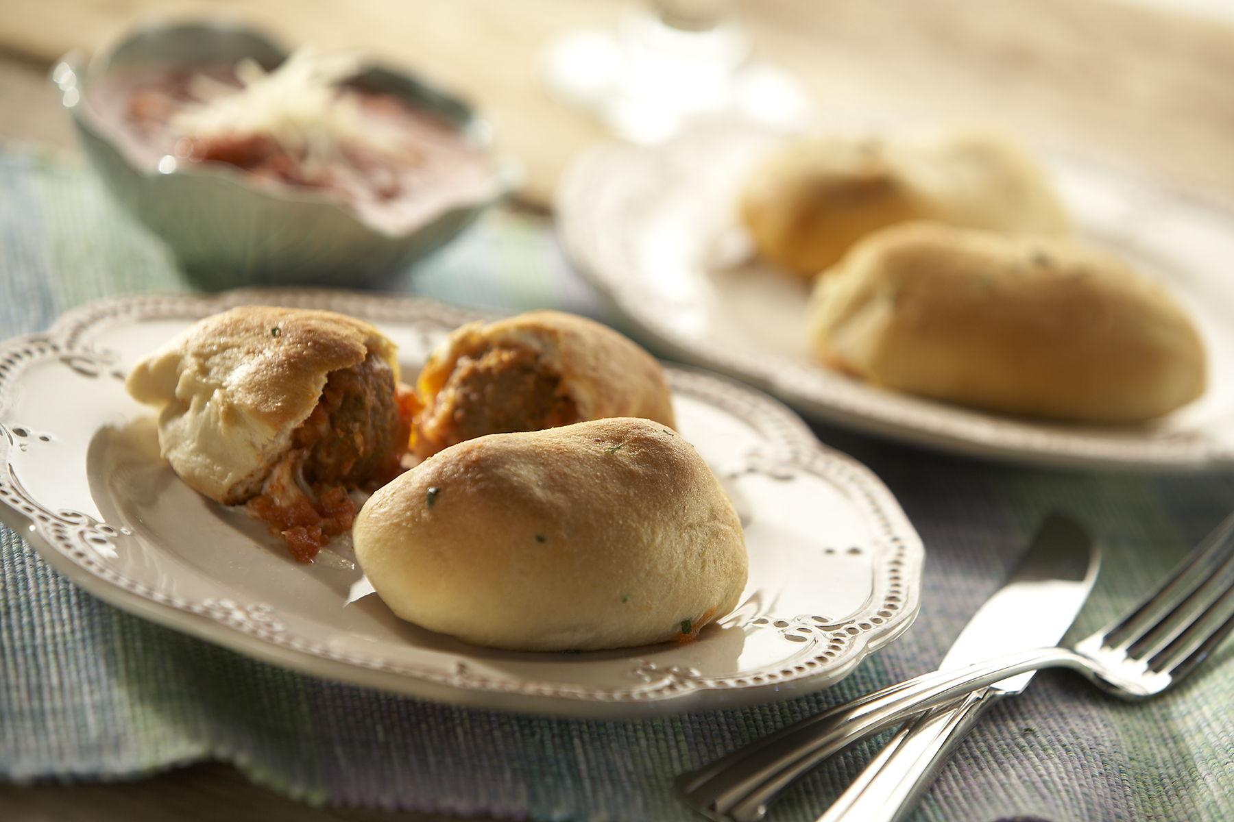 Italian Style Meatball Stuffed Garlic Knots
