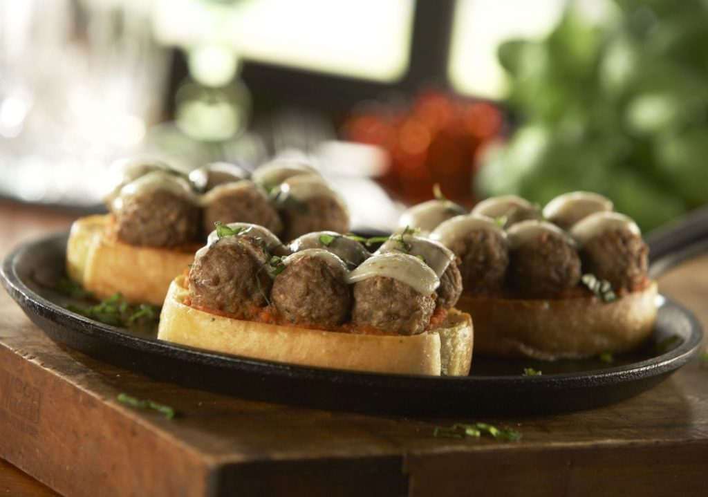 Meatball Garlic Toast Crostini