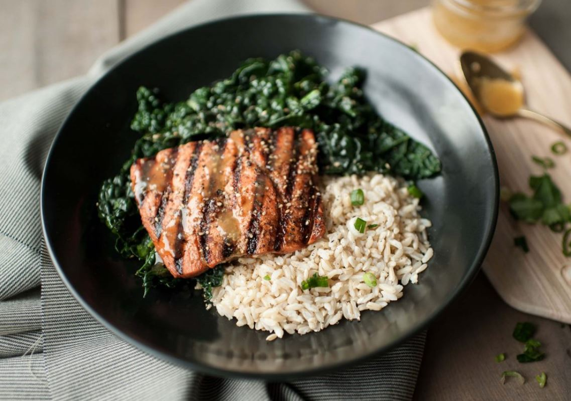 Miso-Honey Grilled Salmon & Kale