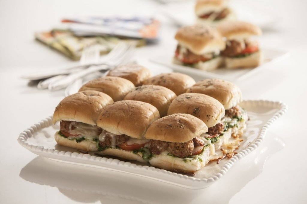 Meatball Pesto Sliders