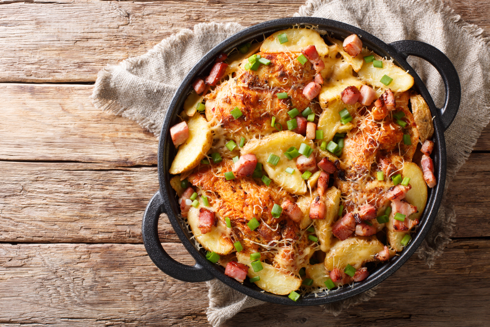 Cheesy Chicken, Ham & Potato Skillet