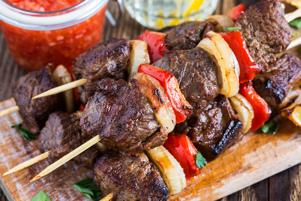 Skewered Sirloin with Lime Cumin Sour Cream