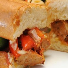 Dutch Oven Sausage and Peppers Sandwiches