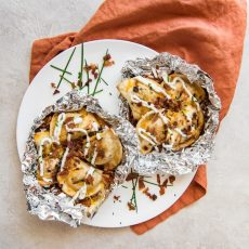 Cheesy Grilled Pierogy Packets w/Bacon