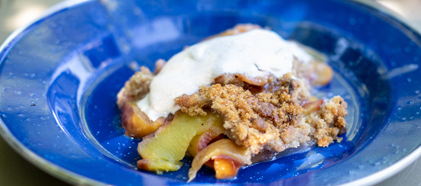 Dutch Oven Peach Cobbler w Cinnamon Maple Whipping Cream