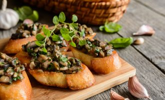 Fried Baguettes with Mushroom, Garlic & Herbs