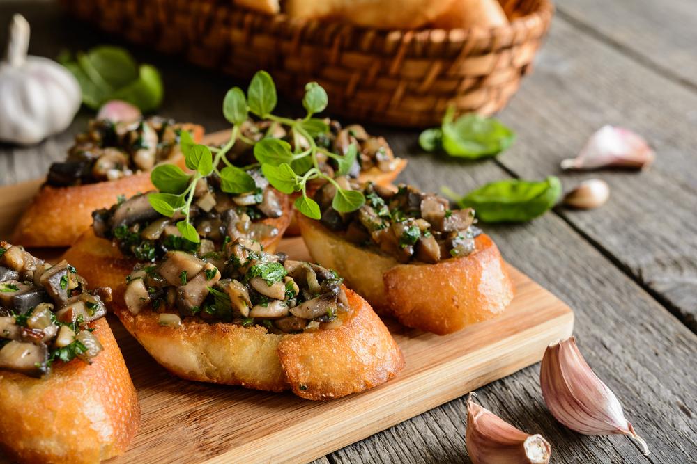 Fried Baguettes with Mushroom, Garlic & Herbs