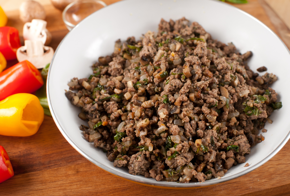 Ground Beef with Fried Mushrooms