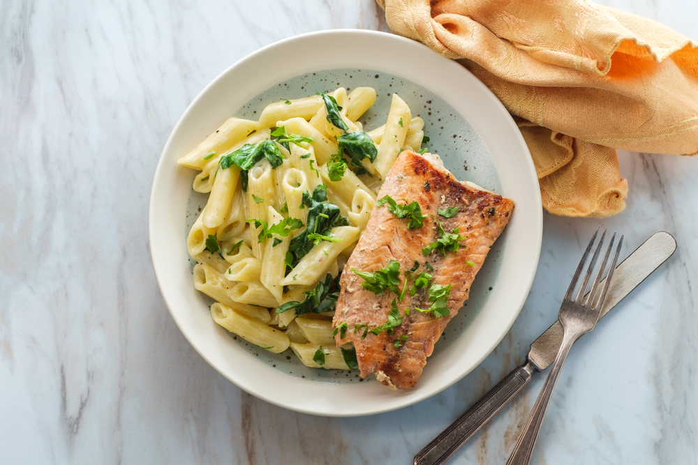 Salmon & Creamy Spinach Alfredo Penne Pasta