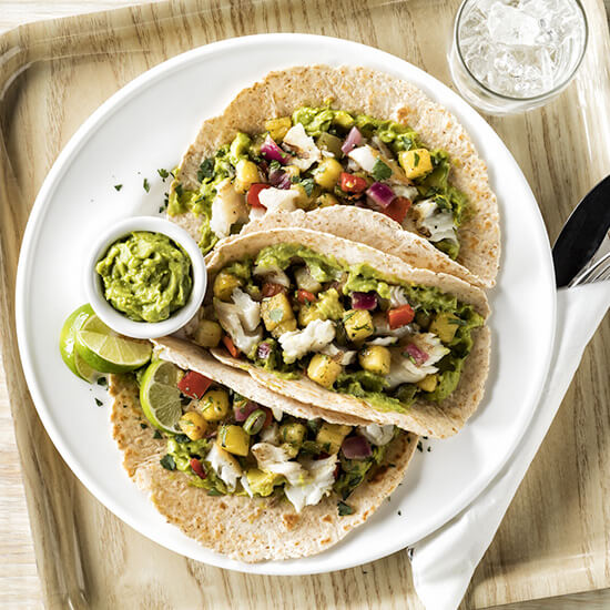 Guacamole & Grilled Fish Tacos with Pineapple Salsa