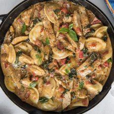 Tuscan Chicken Pierogy Skillet