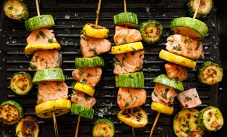 Grilled Salmon & Vegetable Kabobs