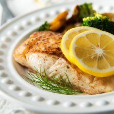 Seared Lemon Herb Halibut & Veggies