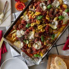 Sheet Pan Meatball, Gnocchi and Veggie Bake
