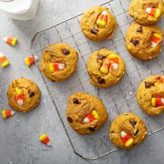 Candy Corn Pumpkin Chocolate Chip Cookies
